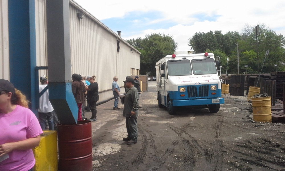 Employees enjoy Mr. Softee in celebration of six months without a serious employee injury